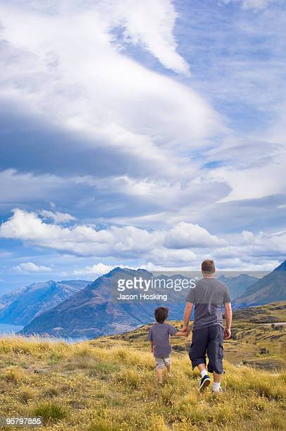 Father and son walking in the great outdoors