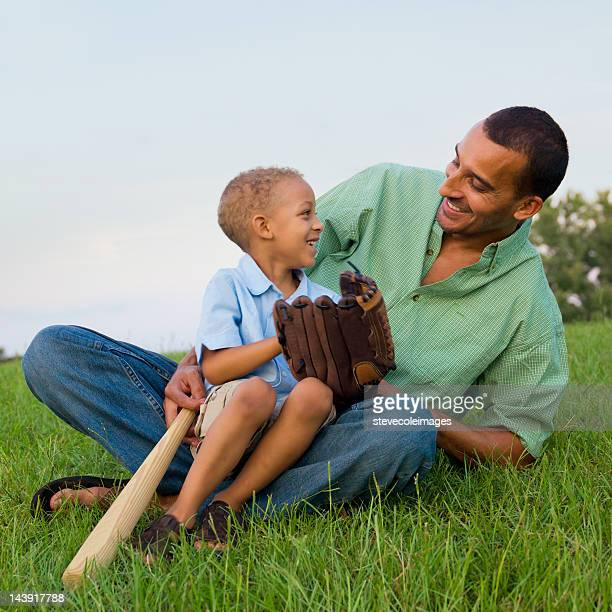 Father and Son with Baseball Glove