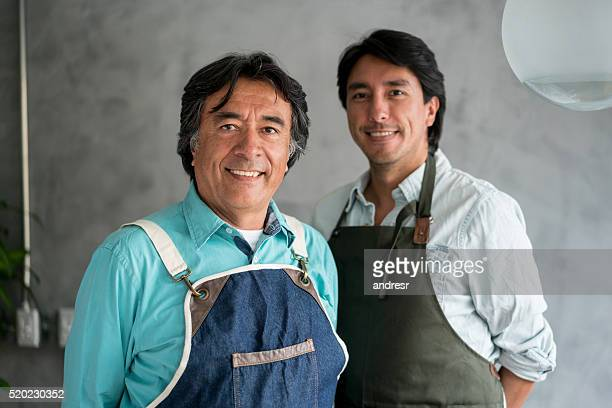 Father and son working at a restaurant