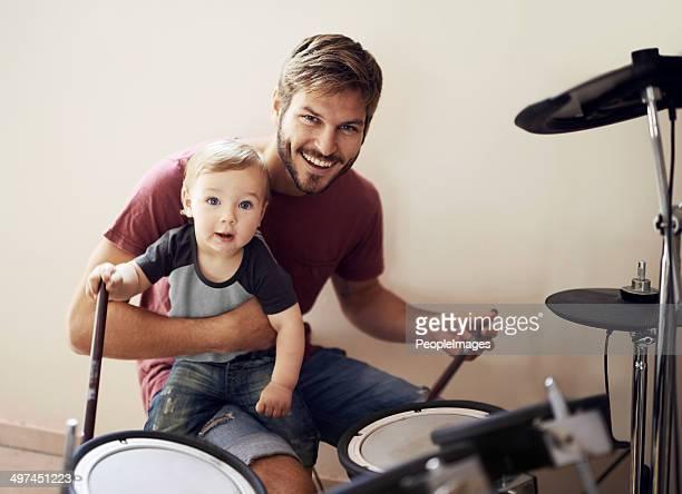 Père et son.rocking-vous ensemble !