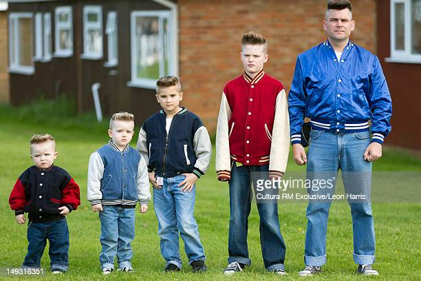 Father and sons with matching hair