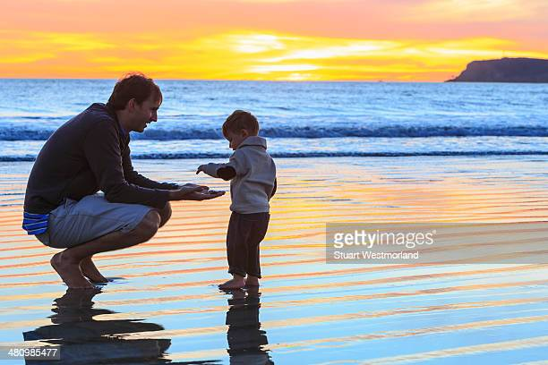 Father and toddler son playing on beach, San Diego, California, USA