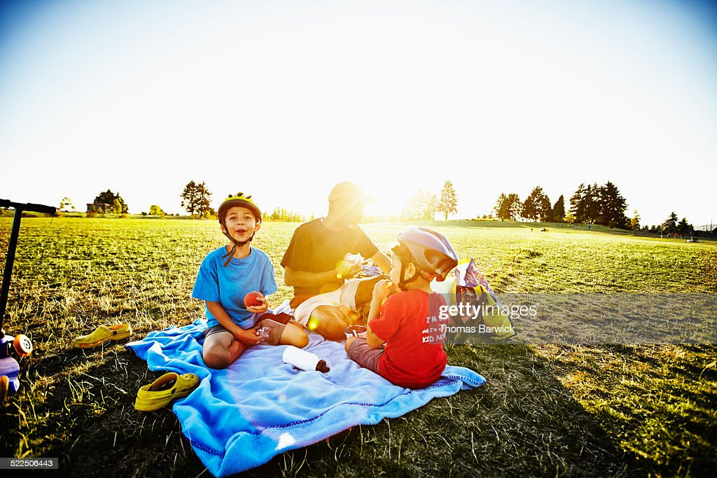 Father and two young sons having picnic in park : Stock Photo
