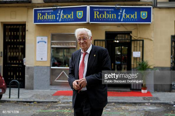 Father Angel 79 poses for a portrait outside Robin Hood restaurant on December 5 2016 in Madrid Spain Association Messengers Of Peace 'Mensajeros De...
