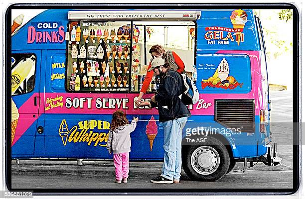 A father buys his daughter an icecream from a Super Whippy van at Sandown Racecourse in Melbourne 23 May 2005 THE AGE Picture by PAUL ROVERE