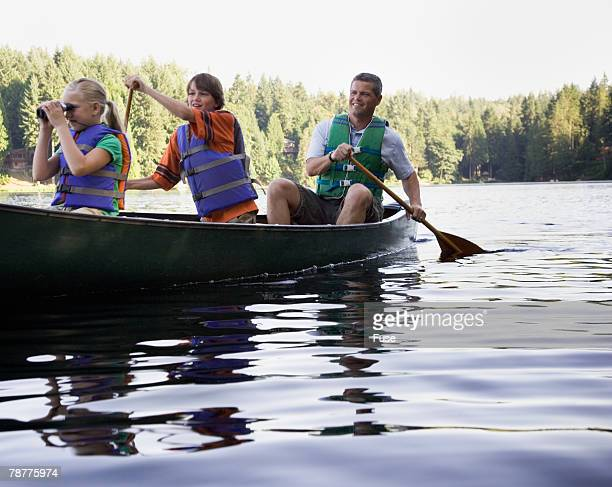 Father Canoeing with Kids