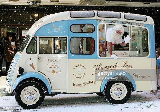 'Father Christmas' visits Harrods in Knightsbridge in an icecream van to launch the store's 'Christmas World' on August 7 2007 in London England