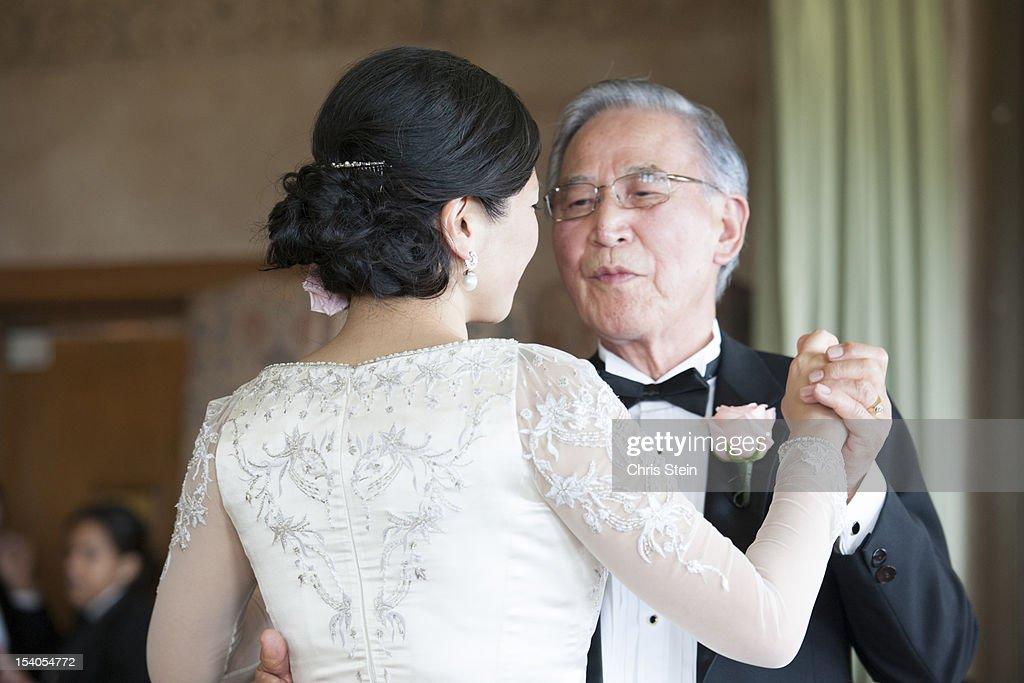 Happy Wedding dance of the loving Asian Korean Bride