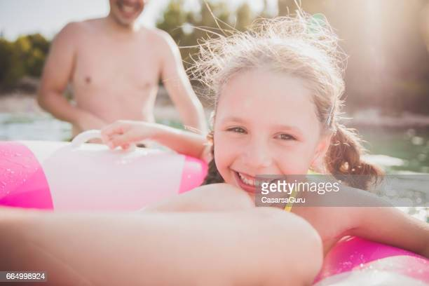 Father Enjoying Play With Children In The Sea Water - Close Up