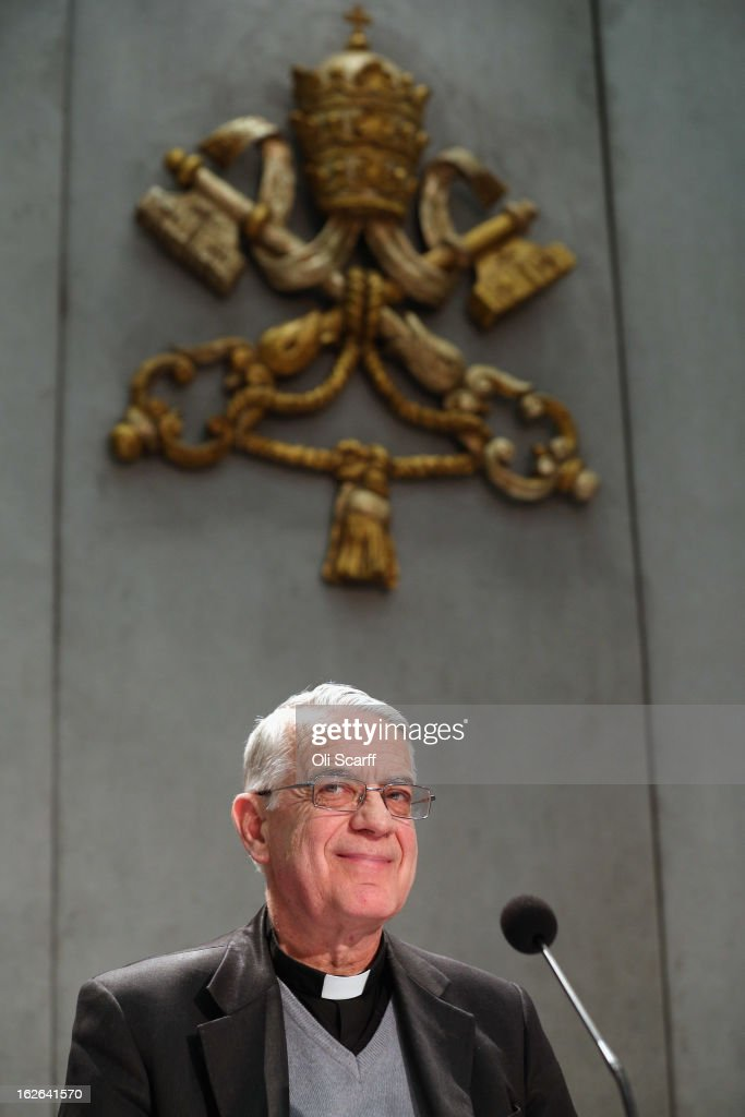 Father Federico Lombardi, Director of the Holy See Press Office smiles during a press conference in the Holy See Press Room to give details of the 'Motu Proprio' document on February 25, 2013 in Vatican City, Vatican. The 'Motu Proprio' outlines the changes to Roman Catholic church law that Pope Benedict XVI has approved which can enable the conclave to select his successor beginning sooner than15 days after the papacy becomes vacant. The Pontiff will hold his last weekly public audience on February 27, 2013 before he retires the following day. Pope Benedict XVI has been the leader of the Catholic Church for eight years and is the first Pope to retire since 1415. He cites ailing health as his reason for retirement and will spend the rest of his life in solitude away from public engagements.