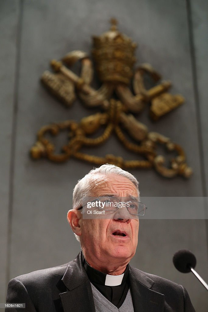 Father Federico Lombardi, Director of the Holy See Press Office speaks during a press conference in the Holy See Press Room to give details of the 'Motu Proprio' document on February 25, 2013 in Vatican City, Vatican. The 'Motu Proprio' outlines the changes to Roman Catholic church law that Pope Benedict XVI has approved which can enable the conclave to select his successor beginning sooner than15 days after the papacy becomes vacant. The Pontiff will hold his last weekly public audience on February 27, 2013 before he retires the following day. Pope Benedict XVI has been the leader of the Catholic Church for eight years and is the first Pope to retire since 1415. He cites ailing health as his reason for retirement and will spend the rest of his life in solitude away from public engagements.
