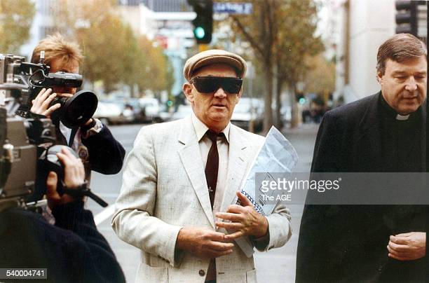 Father Gerald Ridsdale outside court with George Pell 15 August 1993 THE AGE Picture by GEOFF AMPT