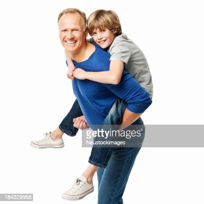 Father Giving His Son a Piggyback Ride - Isolated : Stock Photo