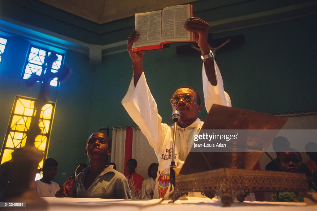Father JeanBertrand Aristide preaches at Saint JeandeBosco Church in Port au Prince
