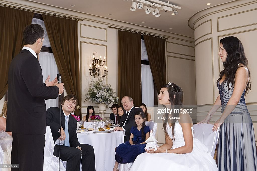 Father Making Speech At Daughters Quinceanera Stock Photo