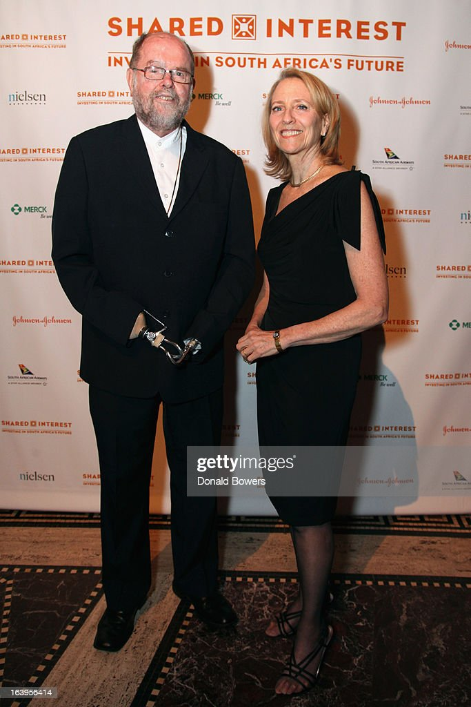 Father Michael Lapsley (L) and Executive Director of Shared Interest Donna Katzin attend the Shared Interest 19th Annual Awards Gala on March 18, 2013 in New York City.