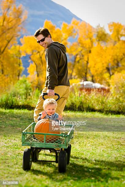 Father pulling his young son in a wagon.