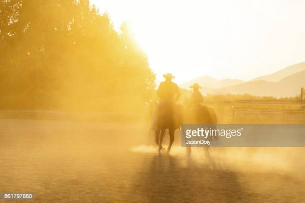 Father Son Horseback Riding in the Utah Country with Early Morning Light