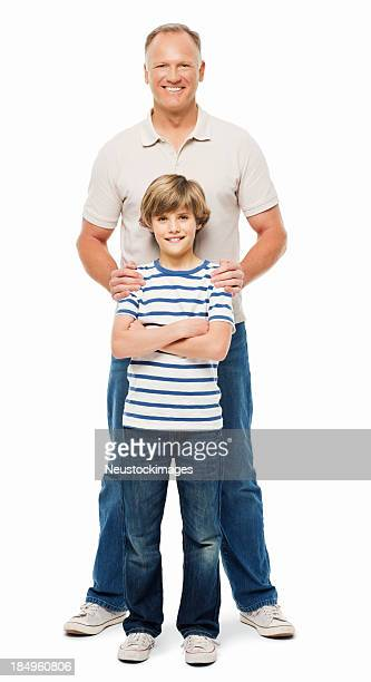 Father Standing Behind His Son - Isolated