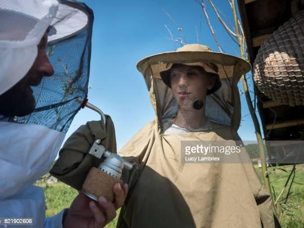 Father & Teens beekeeping