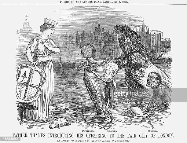 'Father Thames introducing his offspring to the fair city of London' 1858 '' Father Thames introduces his children Diptheria Scrofula and Cholera to...
