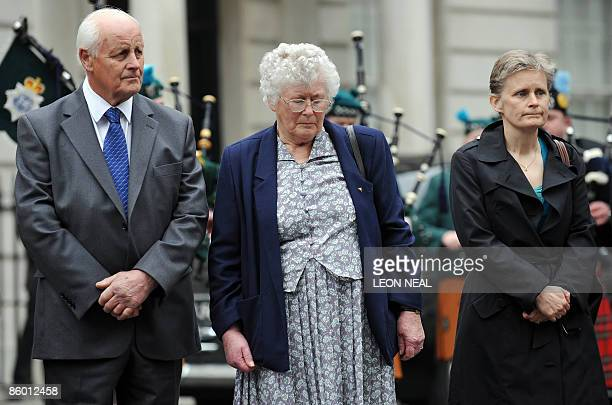 Father Tim Fletcher mother Queenie Fletcher and sister Heather Allbrook attend a ceremony to mark the 25th anniversary of the death of PC Yvonne...