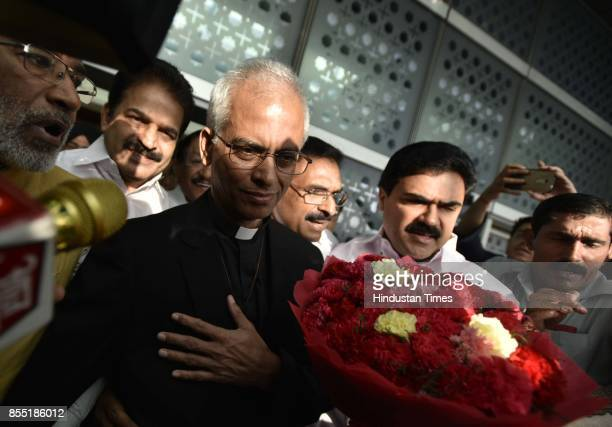 Father Tom Uzhunnalil speaks to media as he arrives at IGI Airport at Terminal 3 on September 28 2017 in New Delhi India Fr Tom was kidnapped in...