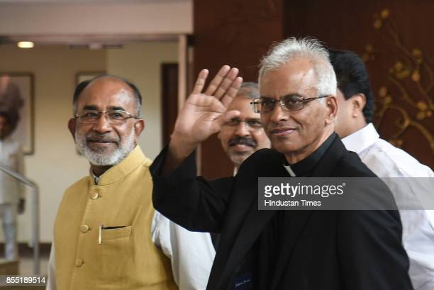 Father Tom Uzhunnalil who was recently rescued from captivity in Yemen arrives to meet External Affairs Minister Sushma Sawraj at Jawaharlal Nehru...