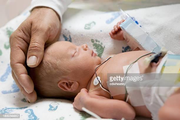 Vater berühren Kopf einer vorzeitigen baby in Brutkasten