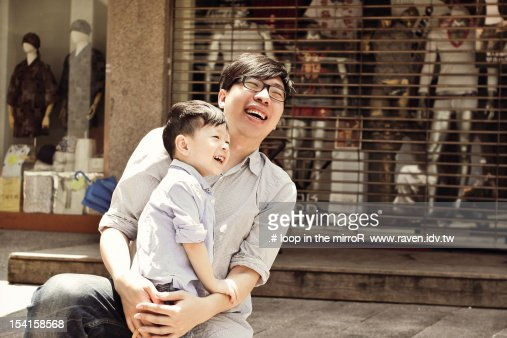 Father with boy : Bildbanksbilder