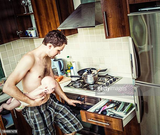 Father with child cooking