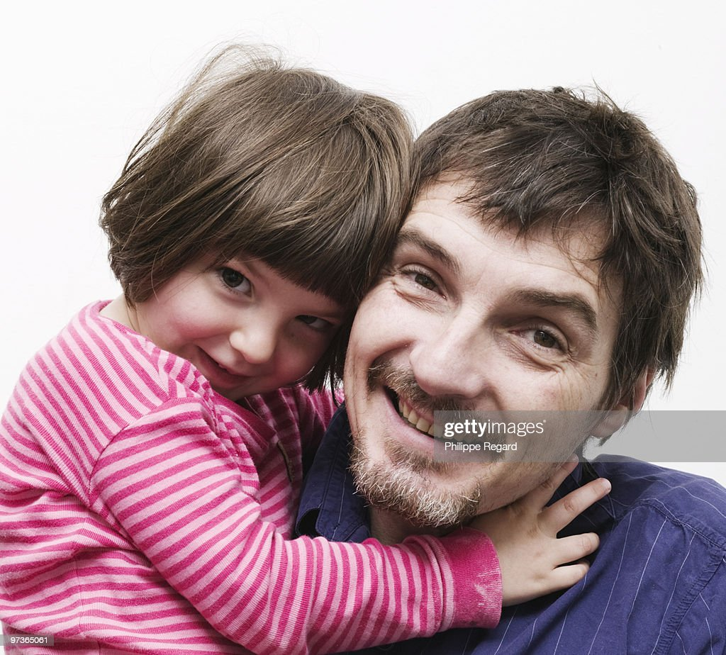 Father with his 6 years old daughter, Portrait : Stock Photo