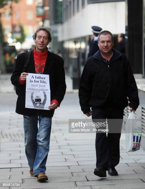 Fathers 4 Justice campaigners Jolly Stanesby left and Mark Harris arrive at City of Westminster Magistrates Court to face trial over a rooftop demo...