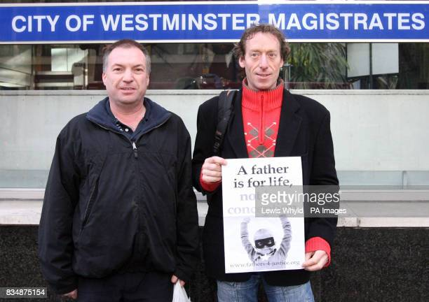 Fathers 4 Justice campaigners Jolly Stanesby right and Mark Harris arrive at City of Westminster Magistrates Court to face trial over a rooftop demo...