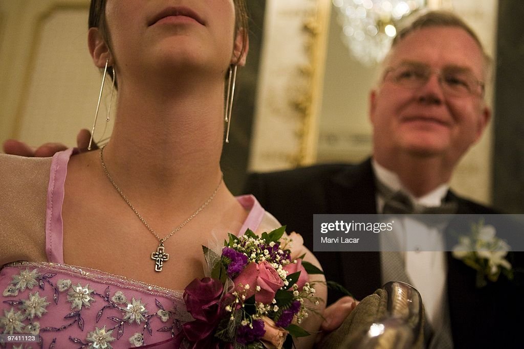 Fathers accompany their daughters to the Father-Daughter Purity Ball on May 16, 2008 in Colorado Springs, Colorado. The ball, founded in 1998 by Randy and Lisa Wilson, focuses on the idea that a trustworthy and nurturing father will influence his daughter to lead a lifestyle of 'integrity and purity.'