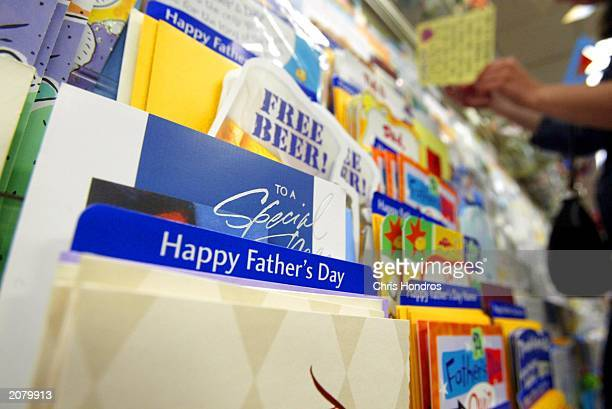 Father's Day cards sit in a Hallmark store June 13 2003 in New York City Father's Day is June 15