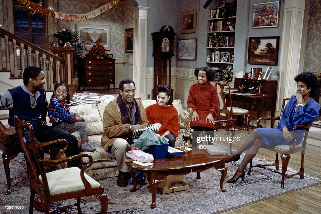 SHOW -- 'Father's Day' Episode 13 -- Air Date -- Pictured: (l-r) Malcolm-Jamal Warner as Theodore 'Theo' Huxtable, Keshia Knight Pulliam as Rudy Huxtable, Bill Cosby as Doctor Heathcliff 'Cliff' Huxtable, Lisa Bonet as Denise Huxtable Kendall, Tempestt Bledsoe as Vanessa Huxtable, Phylicia Rashad as Clair Hanks Huxtable