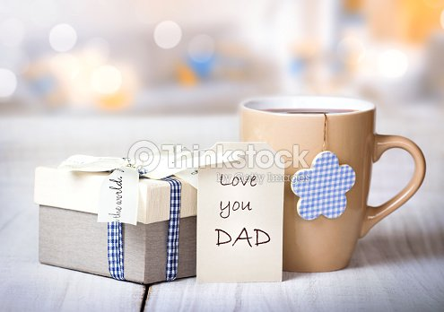 Father\'s day holiday morning coffee greeting crad background.