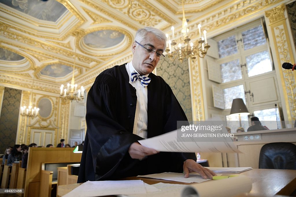Fathi Ben Brahim the lawyer of Tony Meilhon is pictured at Rennes' courthouse on October 26 on the last day of the appeal trial of Tony Meilhon...