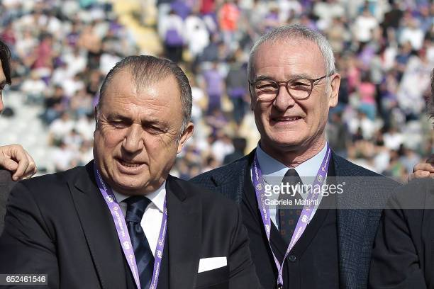 Fatih Terim and Claudio Ranieri during the Serie A match between ACF Fiorentina and Cagliari Calcio at Stadio Artemio Franchi on March 12 2017 in...