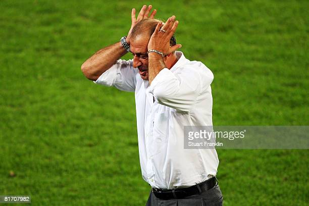Fatih Terim coach of Turkey gestures during the UEFA EURO 2008 Semi Final match between Germany and Turkey at St JakobPark on June 25 2008 in Basel...