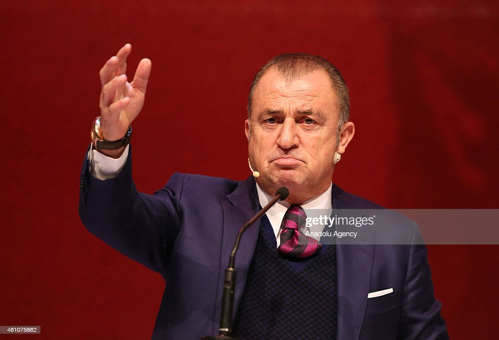 <a gi-track='captionPersonalityLinkClicked' href=/galleries/search?phrase=Fatih+Terim&family=editorial&specificpeople=602376 ng-click='$event.stopPropagation()'>Fatih Terim</a>, director of Turkish Football, delivers a speech on 'Team Management in Modern Football' during the 23rd International Coach Development Congress hosted by Turkish Football Federation (TFF) and Turkish Football Coaches Association (TUFAD) at the Halic Congress Center in Istanbul, Turkey on January 6, 2015.