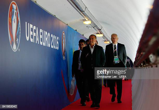 Fatih Terim head coach of Turkey is seen on arrival at the stadium prior to the UEFA EURO 2016 Group D match between Czech Republic and Turkey at...