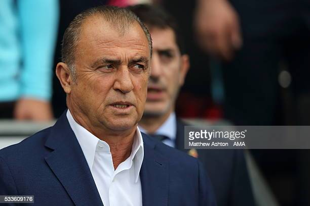 Fatih Terim head coach/manager of Turkey during the International Friendly match between England and Turkey at Etihad Stadium on May 22 2016 in...