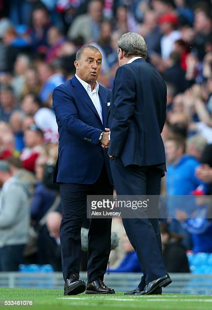 Fatih Terim manager of Turkey and Roy Hodgson manager of England shake hands during the International Friendly match between England and Turkey at...