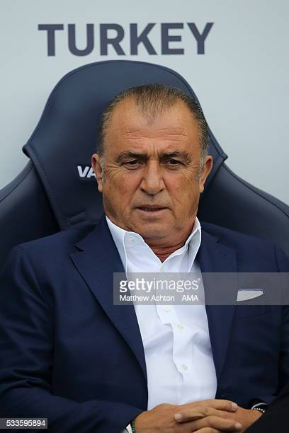 Fatih Terim the head coach / manager of Turkey during the International Friendly match between England and Turkey at Etihad Stadium on May 22 2016 in...