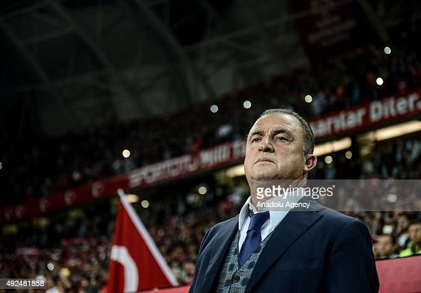 Fatih Terim Turkish association football manager is seen during the UEFA Euro 2016 qualifying round Group A soccer match between Turkey and Iceland...