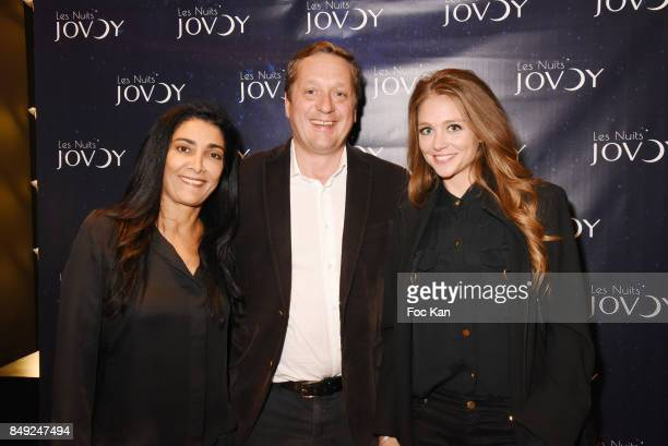Fatima Adoum Jovoy Perfume owner Francois Henin and Cyrielle Joelle attend 'Nuit Jovoy Rose Millesimee' at Jovoy Store on September 18 2017 in Paris...