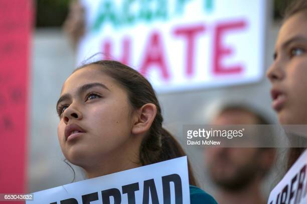 Fatima Avelica daughter of of Romulo AvelicaGonzalez attends a rally with loved ones and supporters for his release outside US Immigration and...