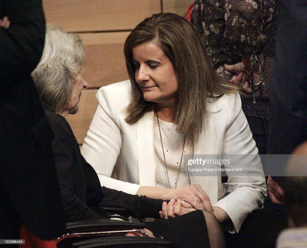 Fatima Banez Garcia comforts Carmen Menendez during the funeral for former Communist Party leader Santiago Carrillo September 19 2012 in Madrid Spain...